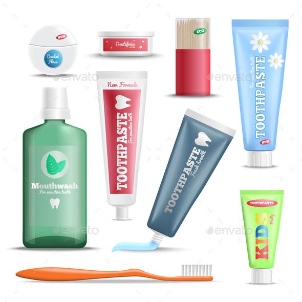 Dental Care Products Realistic Set - Health/Medicine Conceptual