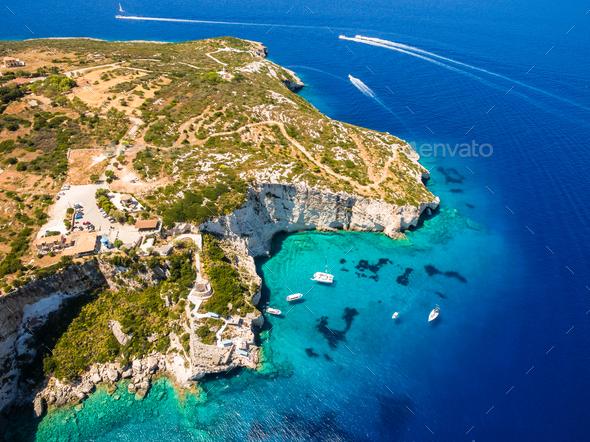 Aerial  view of  Agios Nikolaos blue caves  in Zakynthos (Zante) - Stock Photo - Images