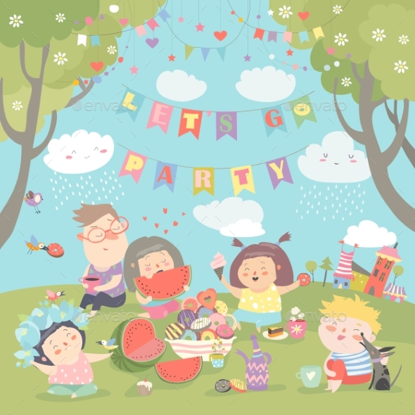 Children Having Picnic at the Lawn - Landscapes Nature