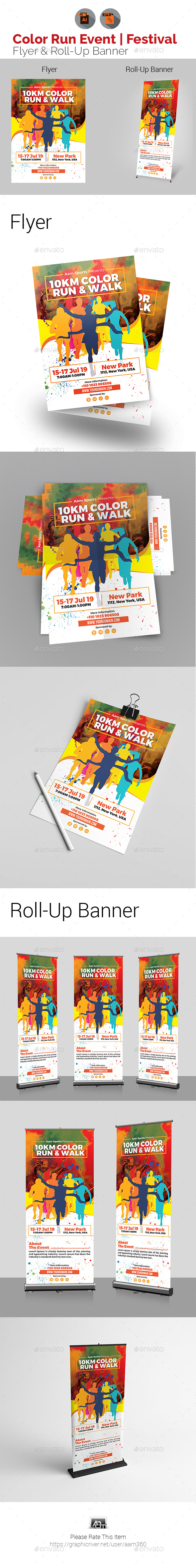 Color Run Event Flyer & Roll-Up Template Bundle - Sports Events