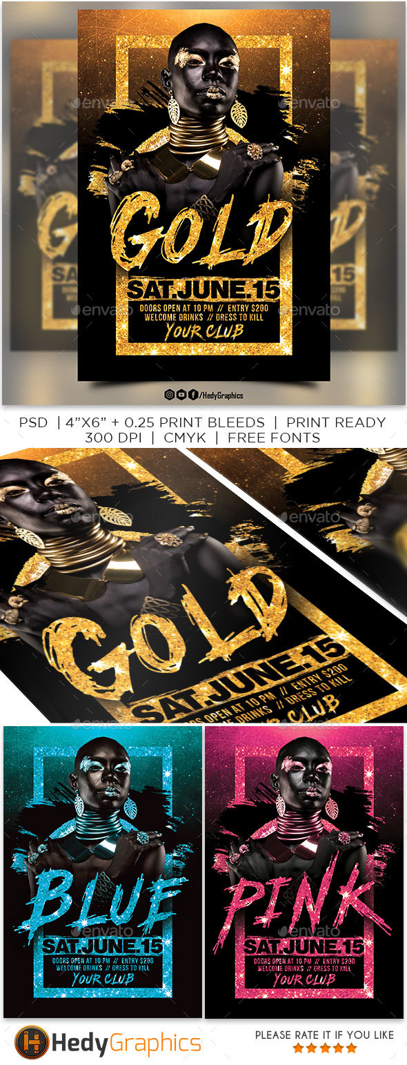 Gold Night Flyer - Clubs & Parties Events