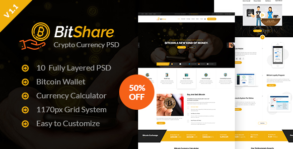Bit Share - Bitcoin Crypto Currency PSD Template - Business Corporate