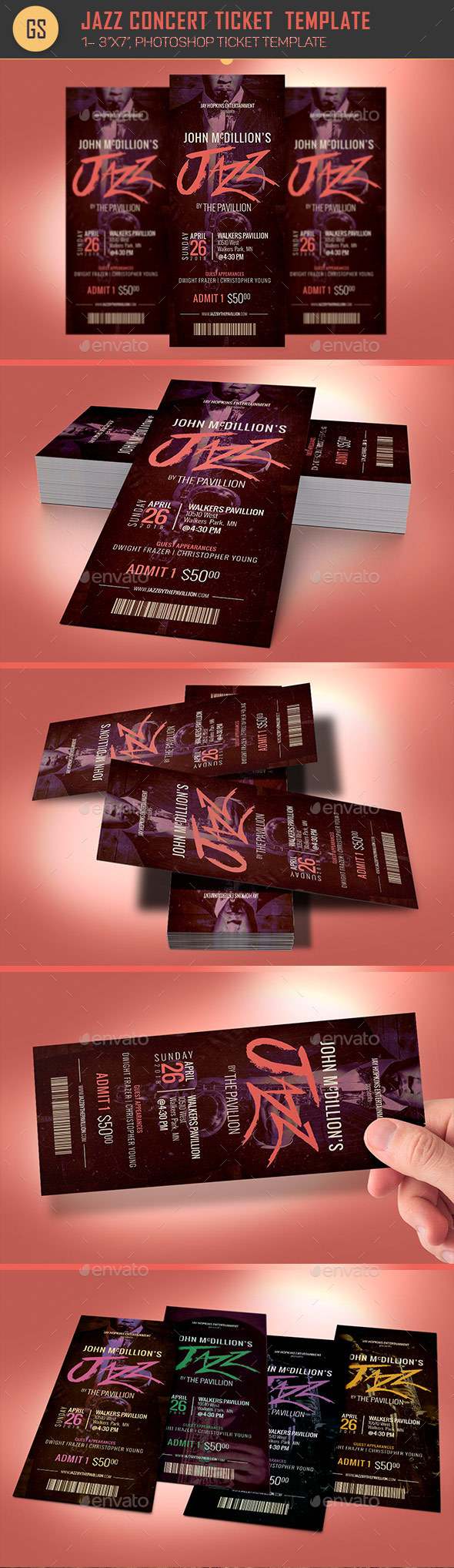 Jazz Concert Ticket Template - Miscellaneous Print Templates