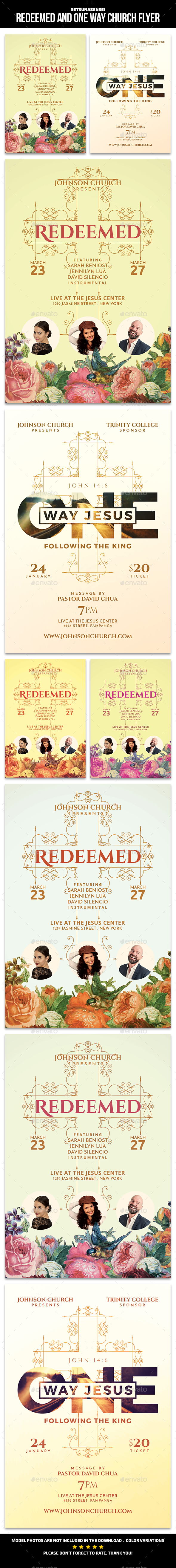 Redeemed and One Way Church Flyer - Church Flyers