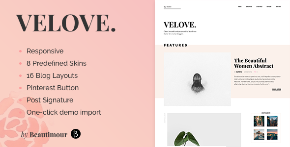 Velove - A Responsive Feminine WordPress Blog Theme - Personal Blog / Magazine
