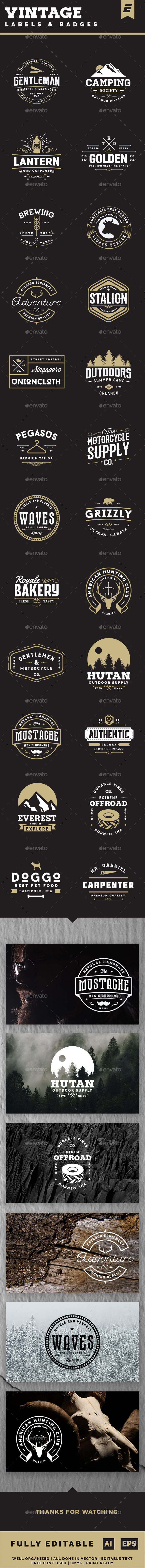 Vintage Label and Badges - Badges & Stickers Web Elements