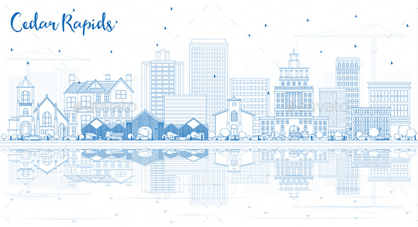 Outline Cedar Rapids Iowa Skyline with Blue Buildings with Reflections. - Buildings Objects
