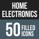 50 Home Electronics Filled Round Corner Icons
