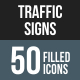 50 Traffic Signs Filled Round Corner Icons - GraphicRiver Item for Sale