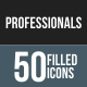 50 Professionals Filled Round Corner Icons - GraphicRiver Item for Sale