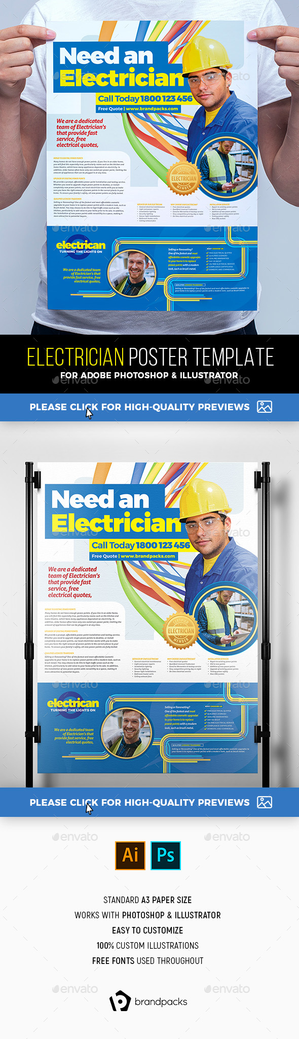 Electrician Poster Template - Commerce Flyers