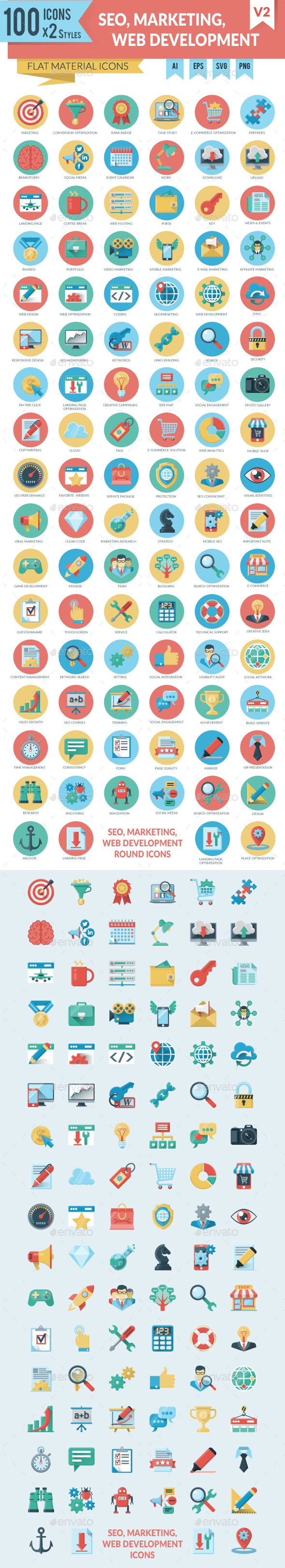SEO, Marketing and WEB Development Icons - Web Icons