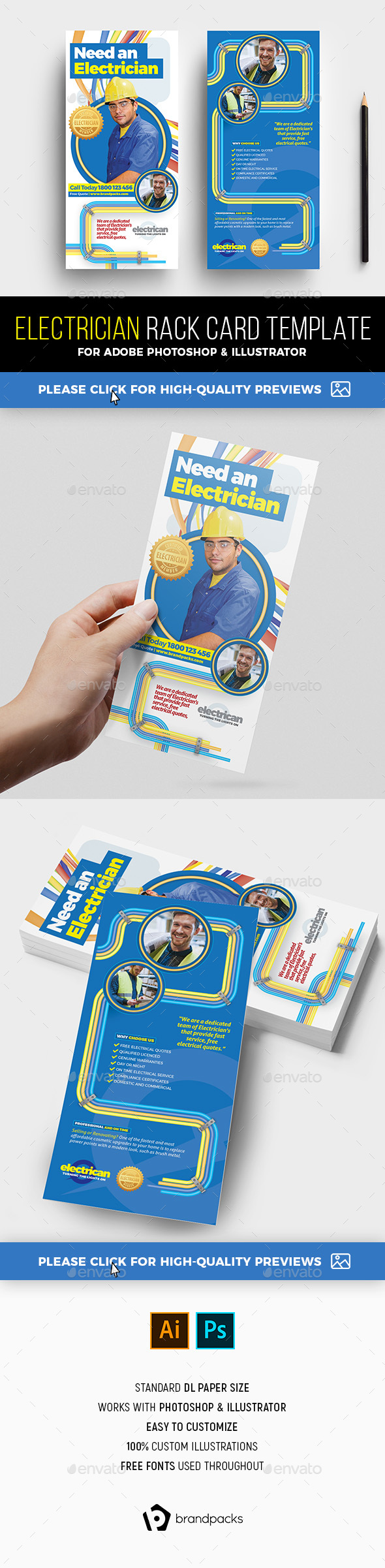 Electrician Rack Card Template - Commerce Flyers