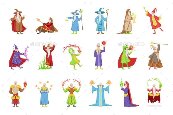 Classic Fantasy Wizards Set Of Characters - People Characters