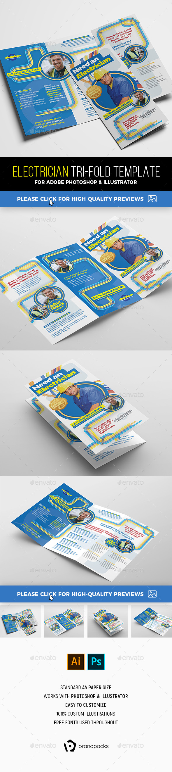Electrician Tri-Fold Brochure Template - Commerce Flyers