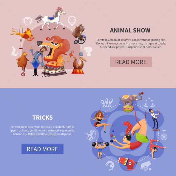 Circus Cartoon Colored Banner Set - Animals Characters