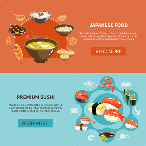 Sushi Flyer Set - Food Objects