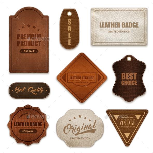 Realistic Leather Badges Labels Collection - Miscellaneous Vectors