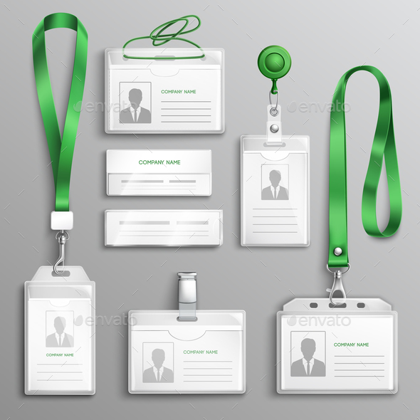 Id Cards Badges Realistic Set - Objects Vectors