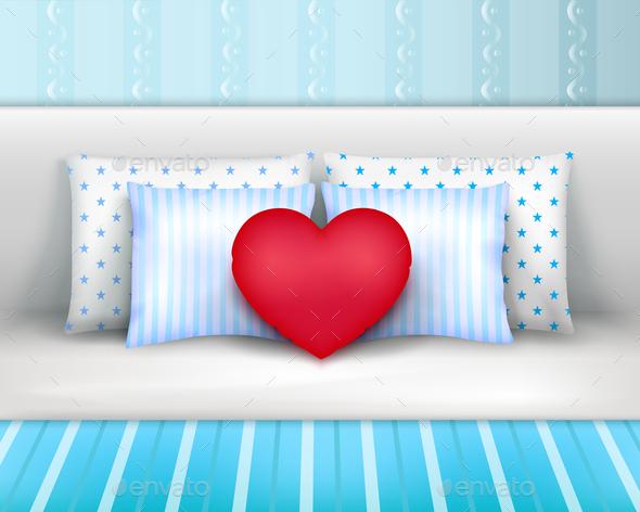 Bedlinnen Pillows Cushions Realistic Composition - Miscellaneous Vectors