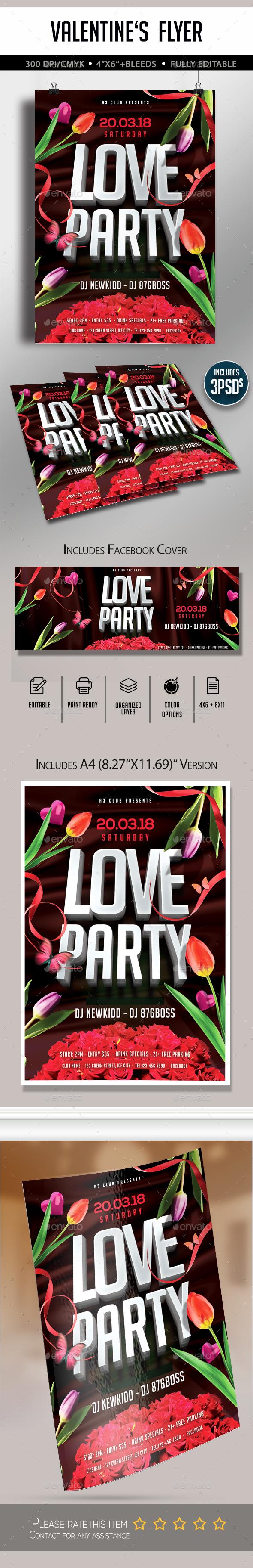 Valentine's Party Flyer - Flyers Print Templates