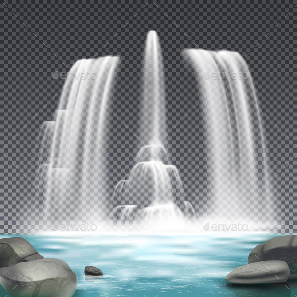 Fountain Waterworks Realistic Transparent Background - Buildings Objects