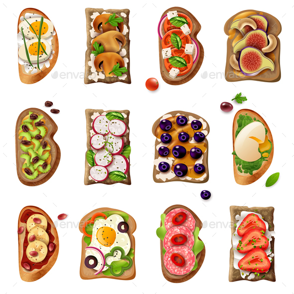 Sandwiches Cartoon Set - Food Objects