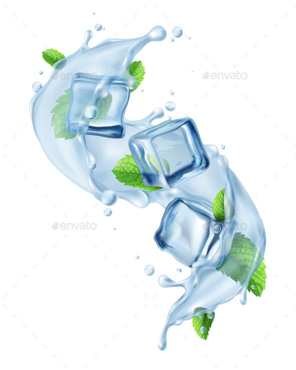 Ice Cube Water Splash - Food Objects