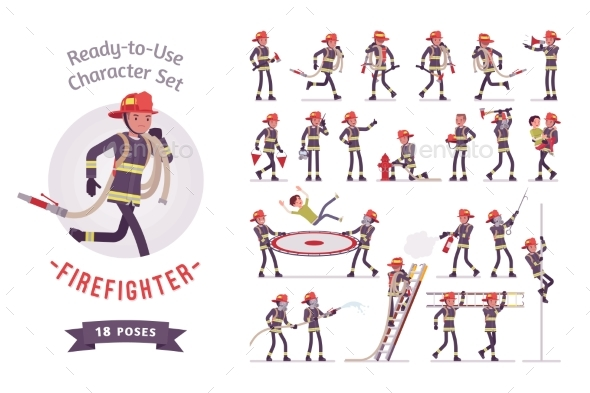 Male Firefighter Ready-to-use Character Set - People Characters