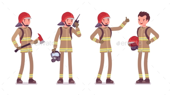 Young Male Firefighter Standing - People Characters