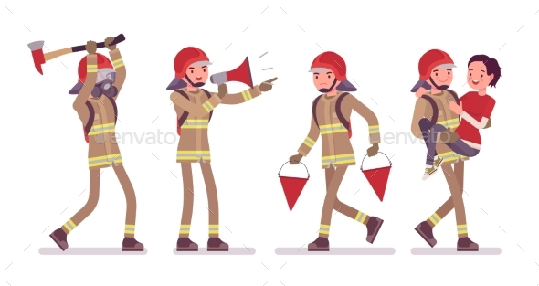 Young Male Firefighter at Work - People Characters