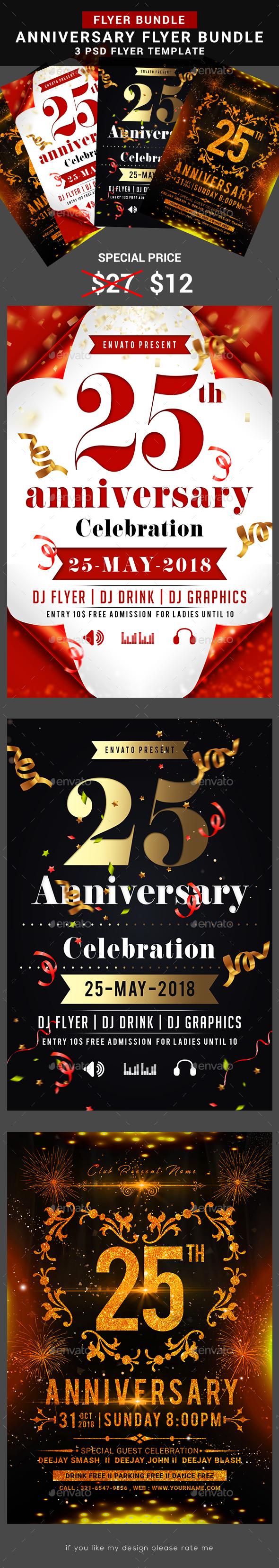 Anniversary Flyer Bundle - Flyers Print Templates