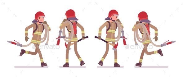 Young Male Firefighter Running with Hose - People Characters