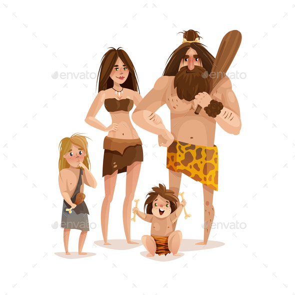 Caveman Family Design Concept - Animals Characters