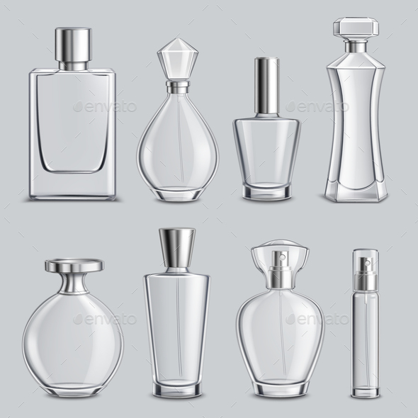 Perfume Glass Bottles Realistic Set - Man-made Objects Objects