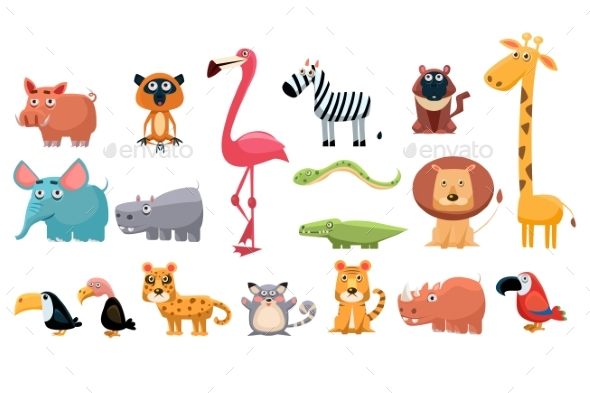 Cartoon Collection of Funny Animals. Colorful - Miscellaneous Vectors