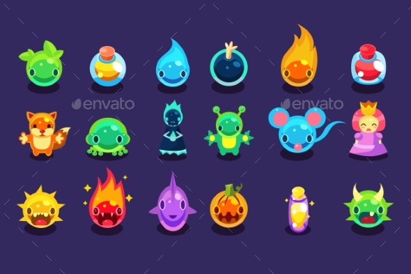 Flat Vector Assets for Mobile Game with Funny - Miscellaneous Vectors