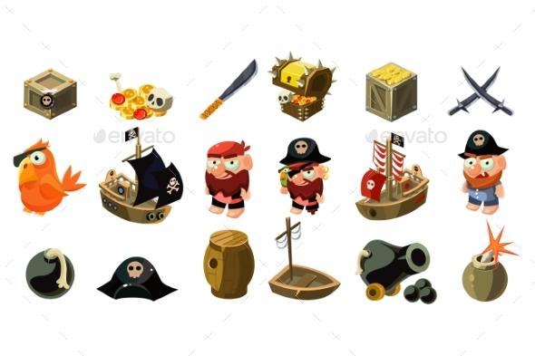 Cartoon Pirate Icons Set - Miscellaneous Vectors