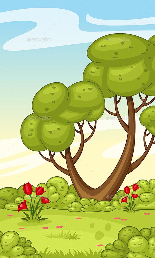 Vertical Cartoon Nature Background - Landscapes Nature