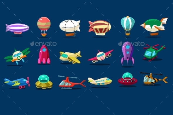 Cartoon Set of Different Types of Aircrafts. Alien - Man-made Objects Objects