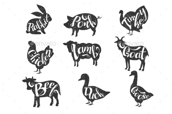 Vintage Vector Labels with Silhouettes of Farm - Animals Characters
