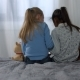 Back View Little Multi Ethnic Girls Sitting on Bed - VideoHive Item for Sale