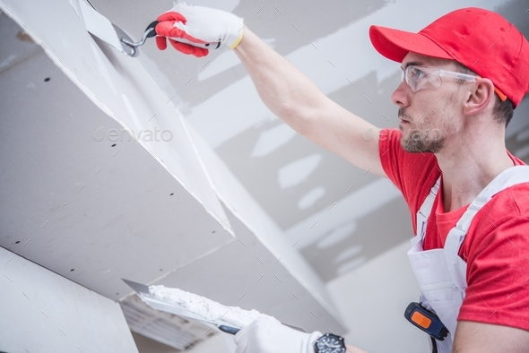 Residential Drywall Patching - Stock Photo - Images