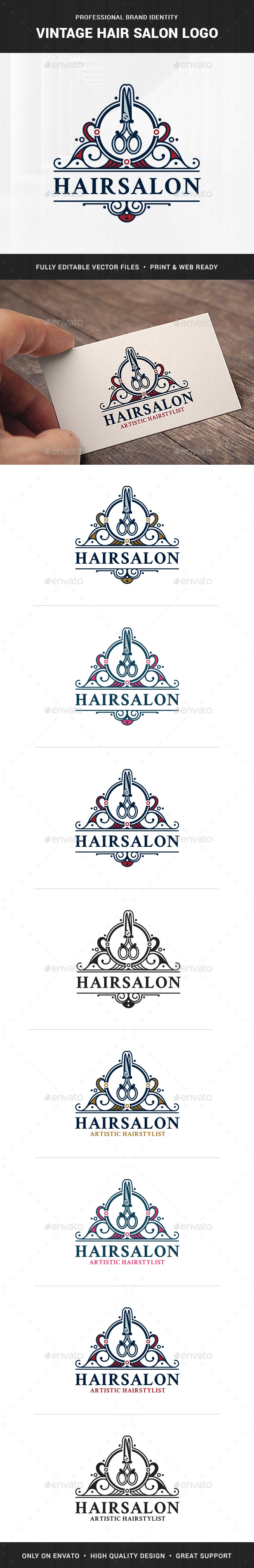 Vintage Hair Salon Logo Template - Crests Logo Templates