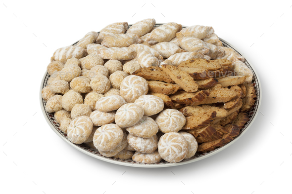 Dish with Moroccan festive homemade cookies - Stock Photo - Images