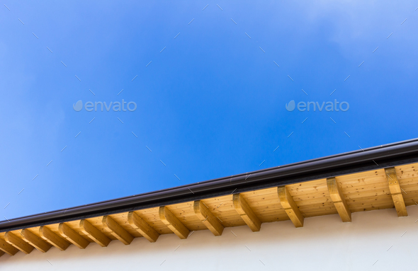 New roof with gutter - Stock Photo - Images