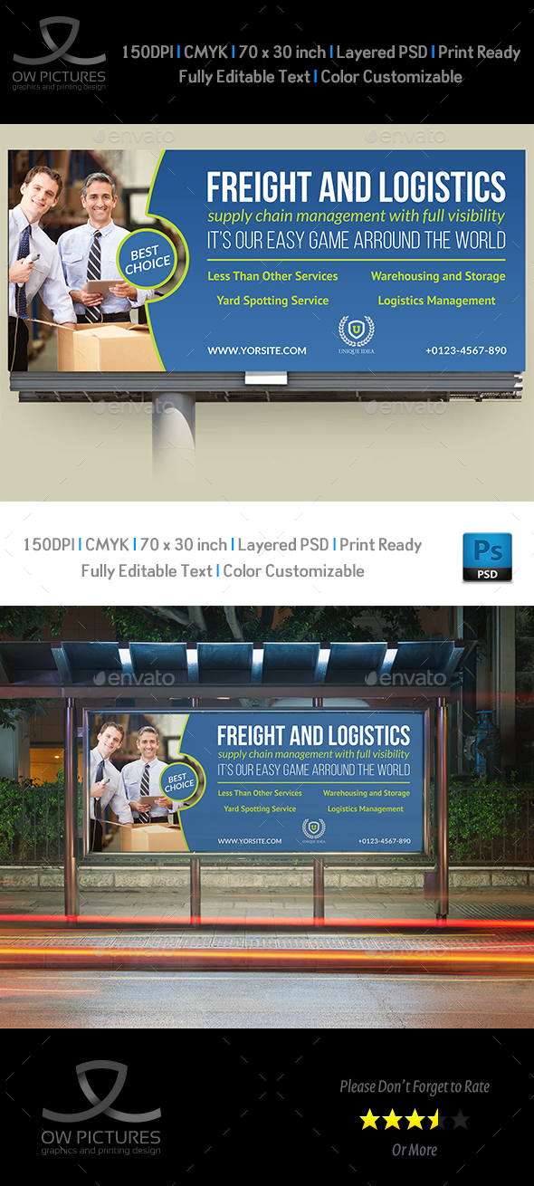 Freight and Logistic Services Billboard Template - Signage Print Templates