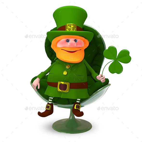 3D Illustration of Saint Patrick with Clover In the Armchair - Characters 3D Renders