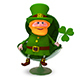 3D Illustration of Saint Patrick with Clover In the Armchair - GraphicRiver Item for Sale