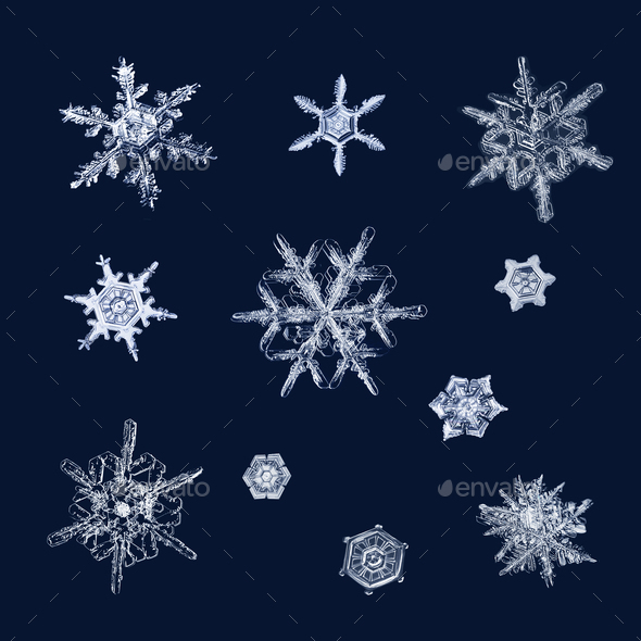 Real ice crystals macro compilation - Stock Photo - Images